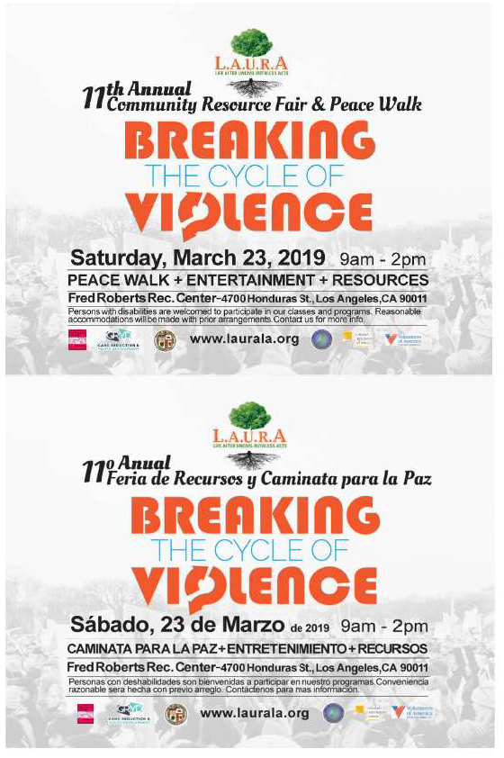 11th Annual Community Resource Fair & Peace Walk; Breaking the Cycle of Violence