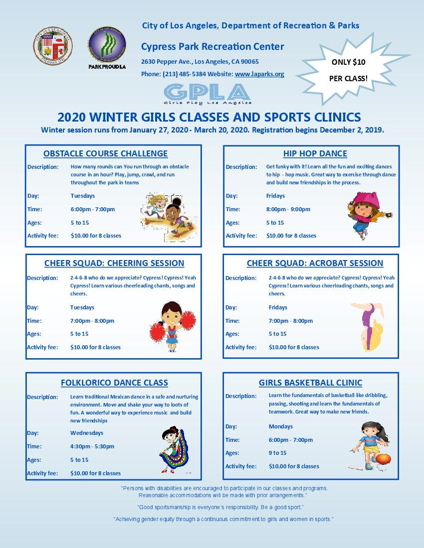 2020 winter girls classes and sports clinics