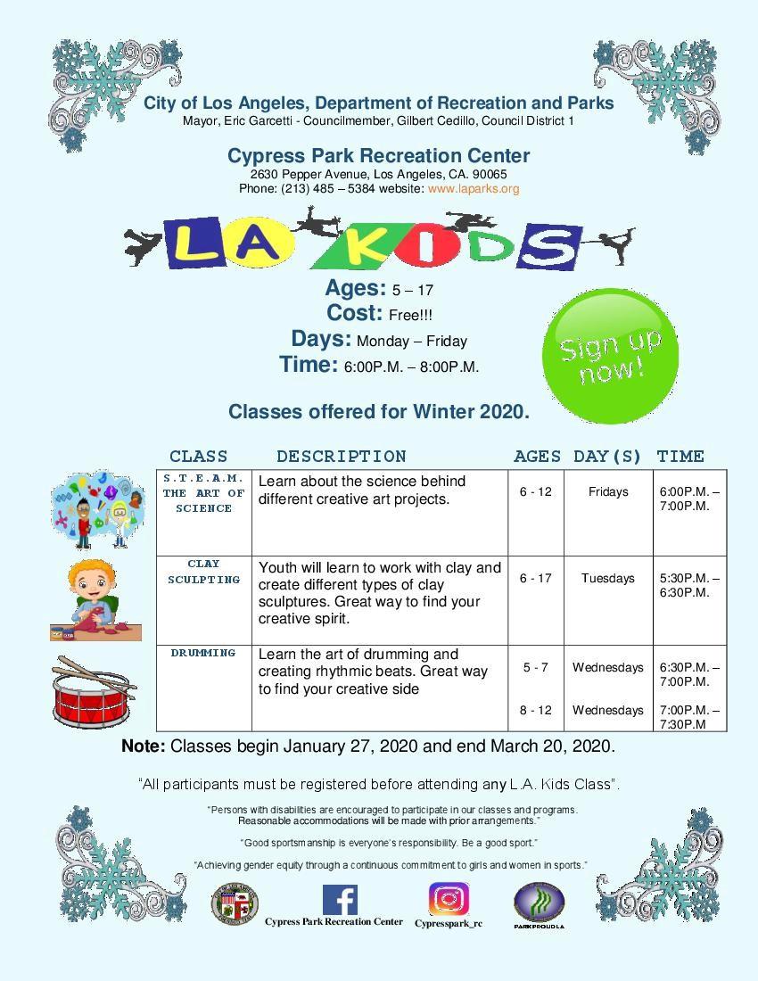 LA KIDS free classes for kids