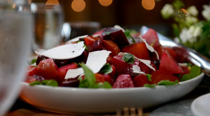 Roasted Beet and Beet Green Salad with Apple and Goat Cheese (Insalata di Barbabietole, Mele e Caprino)