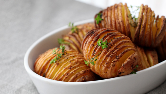 No Hassle Hasselback Potatoes