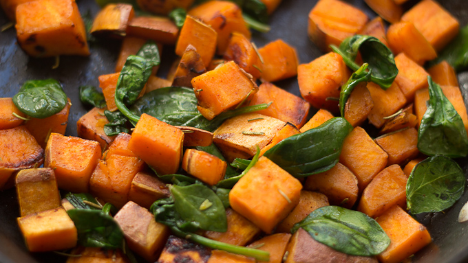 Pan-Roasted Sweet Potatoes with Spinach
