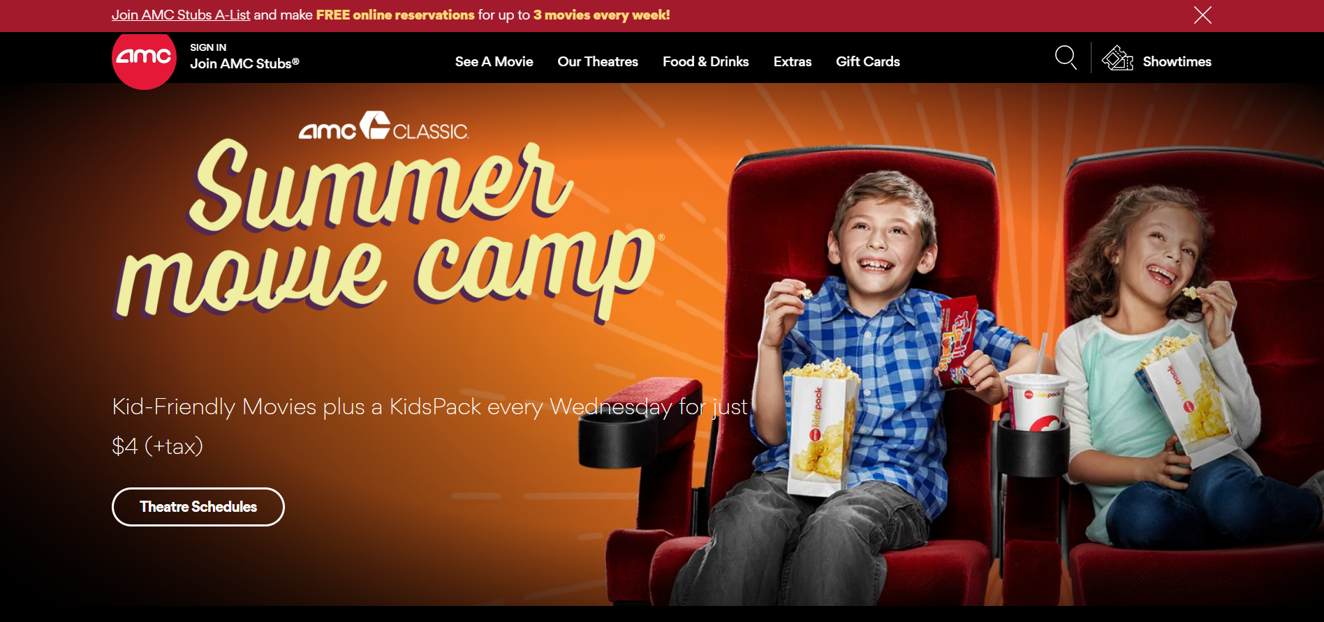 AMC launches $4 deal for kids every Wednesday this summer!
