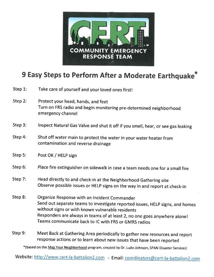 CERT – Earthquake Preparation